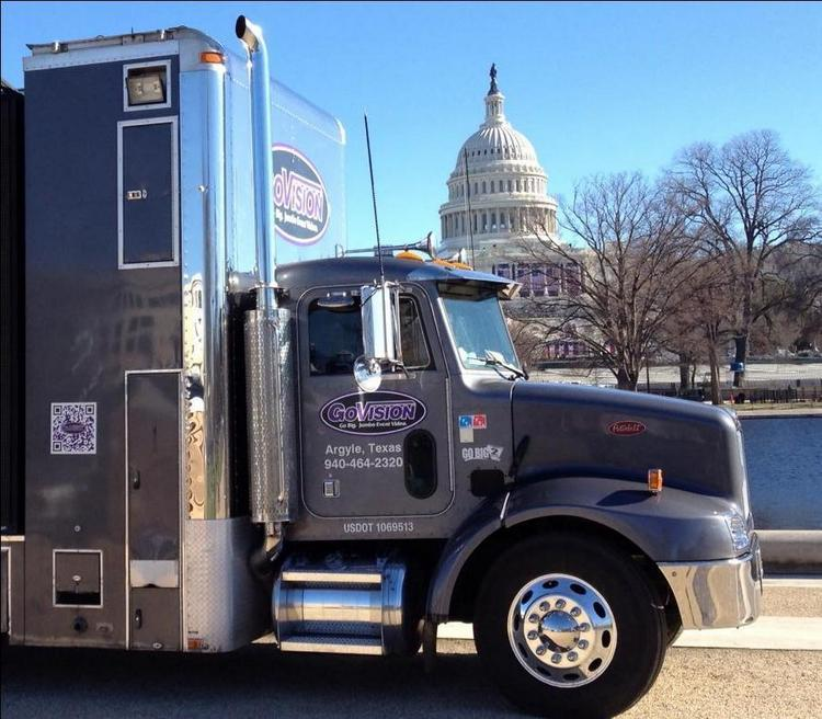 President Barack Obama wouldn't have had jumbotrons at his inauguration without big rigs like this one to haul them there.
