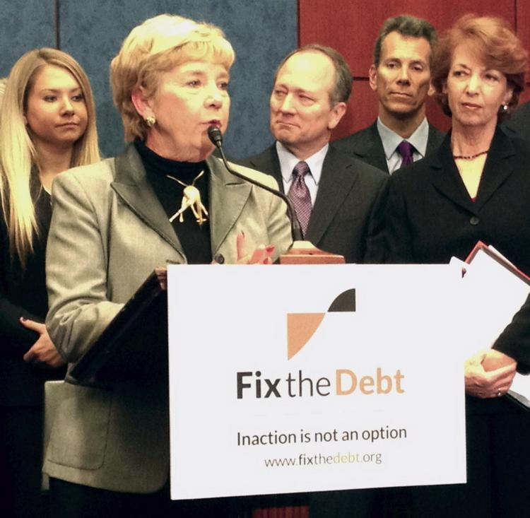 Wanda Rohm, founder of Presto Printing in San Antonio, Texas, speaks at a Capitol Hill press conference held by the Campaign to Fix the Debt.
