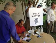 Former Detroit Tiger great Willie Horton signs autographs at American Meat Institute's Annual Hot Dog Day on Capitol Hill.