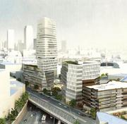 An artist's rendering of plans for the Fenway Center project, as it would be seen from Beacon Street.