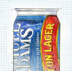 A designer's sketch of what the new Sam Adams can will look like.