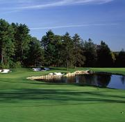 No. 6. The Golf Club at Turner Hill (Ipswich, Mass.). Total yardage: 7,036. Slope rating: 139. Golf pro: George Goich. No. 18 is a great par 3 finishing hole that requires a precise shot. The green is angled from left to right, which brings the water, bunkers and trees into play. Par is a good score and birdies are rare.