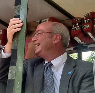 Mass. General CEO Peter Slavin aboard a duck boat at Tuesday's rolling rally celebrating the Boston hospital's rise to No. 1 on the U.S. News and World Report ranking.
