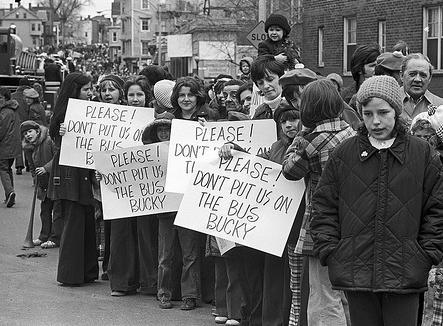 The protests and violence in Boston neighborhoods following mandatory school busing made national headlines in 1974.