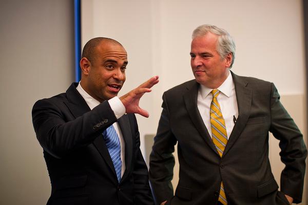 Haiti Prime Minister Laurent Lamothe, left, and MIT Provost Chris Kaiser.