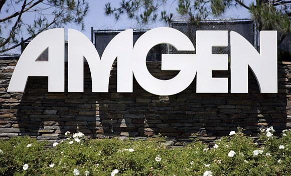 An experimental drug to treat ovarian cancer being studied by Amgen Corp. and licensed from Dyax Corp. shows promise of delaying regrowth of the cancer, the company said Wednesday.
