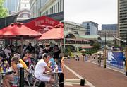 Tourist attraction: Faneuil Hall vs. Harbor Place. Boston's Faneuil Hall in 2009 hosted about 18 million visitors. Harbor Place got 14.2 million visitors in 2010. Advantage: Boston.