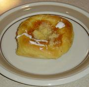 Dunkin' Donuts officials say Texas stores are carrying a pastry called a kolache (pronounced like Versace), a European import popular in some parts of the Lone Star State. Photos of the Dunkin' Donuts kolache were impossible to come by. We did find this photo on Wikimedia Commons.