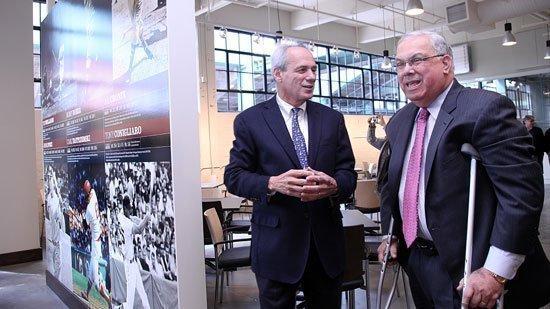 Red Sox CEO Larry Lucchino at Fenway with Boston Mayor Thomas Menino last April.