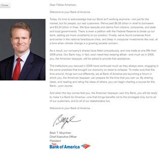 "A fake letter from Bank of America CEO Brian Moynihan invites BofA customers to take control of the bank's destiny: ""When the day comes that you, the American taxpayer, own this bank. ..."""