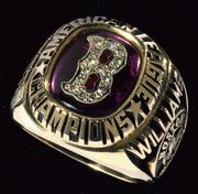 1986 ring: Lot No. 405, Red Sox 1986 American League Championship ring. Estimated value: $10,000 to $20,000.