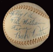Babe Ruth baseball: Lot No. 386, a baseball inscribed to Ted Williams by Babe Ruth. (Estimate upon request)