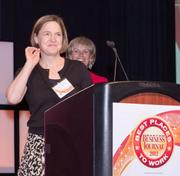 Microsoft Corp. took second place in the large companies category. Sara Spalding accepted the award.