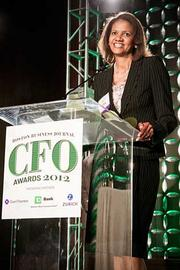 Paula Price of Ahold USA accepts her CFO of the Year award in the public category at the Boston Business Journal's CFO 2012 Awards.