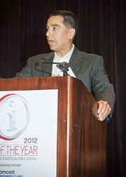 Jim Santiago, CIO at the New England Center for Children accepting his CIO of the Year award in the non-profit category at the 2012 CIO of the Year hosted by Mass High Tech and the Boston Business Journal.