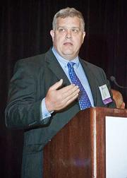 Steve Snyder, CIO/CTO at the Massachusetts Convention Center Authority offering his thanks for a CIO of the Year award at the 2012 CIO of the Year hosted by Mass High Tech and the Boston Business Journal.