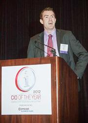 Thomas Walsh of Netwatch accepted the CIO award on behalf of Niall Kelly, CTO and founder of Netwatch at the 2012 CIO of the Year hosted by Mass High Tech and the Boston Business Journal.