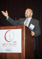 Starting a trend of thanking co-workers and family while accepting their award at the 2012 CIO of the Year hosted by Mass High Tech and the Boston Business Journal was Carbonite's vice president of operations Kai Gray.