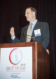 Accepting his CIO of the Year award in the corporate category at the 2012 CIO of the Year hosted by Mass High Tech and the Boston Business Journal was CTO of Educate Online Dave Dupre.