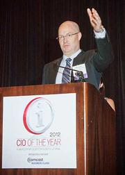 Continuing with acknowledgement of co-workers and families while accepting their CIO of the Year awards at the 2012 CIO of the Year hosted by Mass High Tech and the Boston Business Journal was Mark Henron, CIO of Millennium, The Takeda Oncology Company.