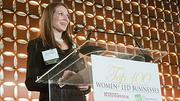Rachelle Dubow, Partner at Bingham McCutchen presented the Midsize Company Growth Award at the Boston Business Journal's Top 100 Women-Led Businesses breakfast.