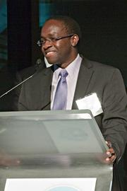 Dr. Ashifi Gogo, founder and CEO of Sproxil, was honored at the Boston Business Journal's 15th 40 Under 40 event.