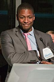 LeRoy Watkins, founder and CEO of MyBike, happily accepted his 40 Under 40 award - and thanked his wife as well, at the Boston Business Journal's 15th annual 40 under 40 event.