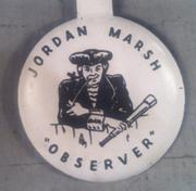 "The ""Jordan Marsh Observer"" was reportedly first painted on a wall overlooking the construction site for department store's new building in the late 1940s. It became a trademark the store used regularly, thereafter."