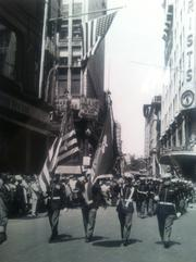 U.S. Marines marching in the Jordan Marsh 100th anniversary parade in 1951.