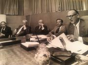 Jordan Marsh introduced a new executive team in 1967 (from left): Elliot J. Stone, executive vice president, William P. Reed, chairman, and Robert G. Hoye, CEO. Allied Stores executives Thomas Macioce, right, and Martin S. Kramer introduced the three.