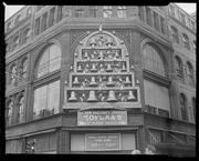 In 1957, bells and bell-ringers adorned the facade of the Jordan Marsh building in Downtown Crossing for the holidays.