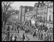 The Jordan Marsh Santason Parade makes its way down Commonwealth Avenue in the Boston's Back Bay in 1931.