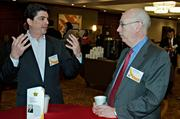 Goulston & Storrs' Dan Rottenberg and Harry Nash of Kensington Investment Company in conversation during the social hour prior to the Boston Business Journal's 2013 Most Admired Companies, CEOs & Brands luncheon at the Sheraton Boston Hotel.