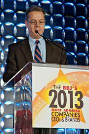 The Boston Business Journal's executive editor George Donnelly was an award presenter at the BBJ's 2013 Most Admired Companies, CEOs & Brands luncheon.