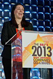 Lindsay Garces accepted the small to midsize company CEO award on behalf of her mother, Communispace's Diane Hessan at the BBJ's 2013 Most Admired Companies, CEOs & Brands luncheon.
