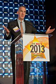 Dan Kenary, president of Harpoon Brewery, accepted the midsize company CEO award on behalf of himself and CEO Rich Doyle at the BBJ's 2013 Most Admired Companies, CEOs & Brands luncheon by inviting everyone to their new beer hall for a beer.