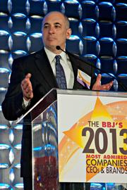 Eric Beyer, CEO of Tufts Medical Center, speaks at the BBJ's Most Admired Companies, CEOs & Brands luncheon.