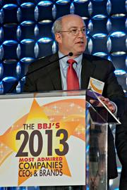 Dr. Peter Slavin, president of Mass General accepted the Most Admired in Health Care at the Boston Business Journal's 2013 Most Admired Companies, CEOs & Brands luncheon. The hospital took 65% of the Reader's Choice record breaking 14,444 votes cast.
