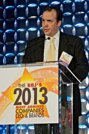 Thomas Dorion of Ernst & Young accepted an award for Most Admired Accounting Firms at the Boston Business Journal's 2013 Most Admired Companies, CEOs & Brands luncheon.