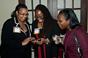 Tweeting or texting or emailing from the Boston Business Journal's Best Places to Work event were Brigham and Women's Hospital's Jackie Rodrigues-Louis, Angela Covington and Natasha Johnson.