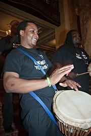 An Express Yourself drummer at the Boston Business Journal's Best Places to Work event.