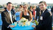 Caught in the late afternoon sun at the Boston Business Journal's 2012 End of Summer Party were Baystate Financial's Bryan Morrell, Molly Neville and Mike DiMaggio.
