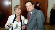 Enjoying a cup of coffee at the Boston Business Journal's  2012 Champions in Health Care event were Partners Heatlhcare's Marilyn Spivack and Ross Zafonte.