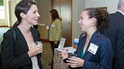 Brigham and Women's Heather Bella and Sara Adland enjoy some conversation during the networking period of the Boston Business Journal's  2012 Champions in Health Care event.
