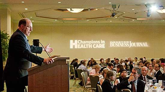 Congressman Michael Capuano (D-Somerville) addressed the crowd at the 2012 BBJ Champions in Health Care breakfast.