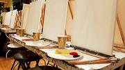 Blank canvases await patrons of The PaintBar in Newton. For $30, wannabe artists get the canvas, paint and step-by-step instruction to create a painting they can take home.