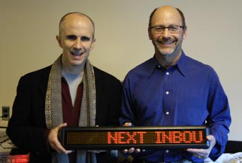 MIT researcher Rick Borovoy and serial entrepreneur Ben Resner are developing LED sign kits for businesses to let customers track next bus arrivals.