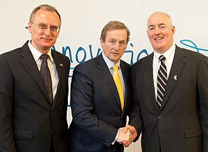 BU Professor Alexander (Sasha) Sergienko, left, the Taoiseach, (Prime Minister), of Ireland, Enda Kenny T.D., center, and Jim Lowrie, senior vice president of worldwide sales for Intune Networks.