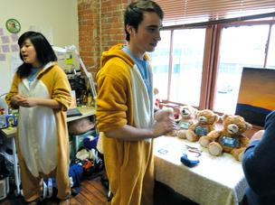 Sproutel co-founders Hannah Chung and Aaron Horowitz donned bear costumes to talk about Jerry the Bear, the talking bear that will comfort children facing chronic illnesses like Type 1 Diabetes.