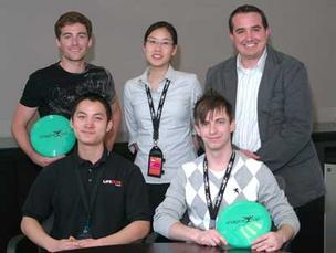 Lifecode is, from left, Ryan Flynn, MIT; and Xiaohui Liu, Melissa Hui and Steve Markovitch, Wayne State University; with Microsoft's Gus Weber.